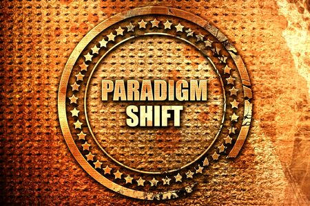 shift: paradigm shift, 3D rendering, text on metal