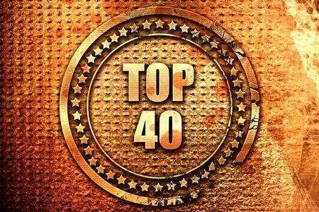 top 40, 3D rendering, text on metal Stock Photo
