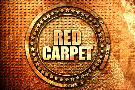 red carpet, 3D rendering, text on metal