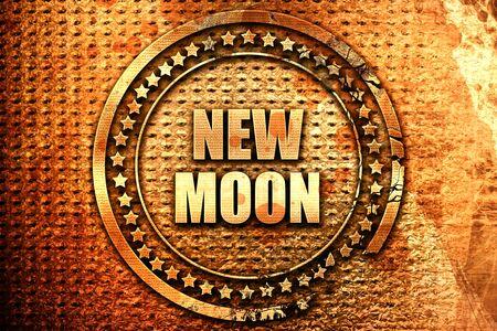 new moon, 3D rendering, text on metal