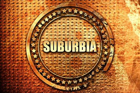 suburbia: suburbia, 3D rendering, text on metal Stock Photo