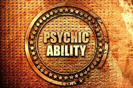 psychic: psychic ability, 3D rendering, text on metal Stock Photo