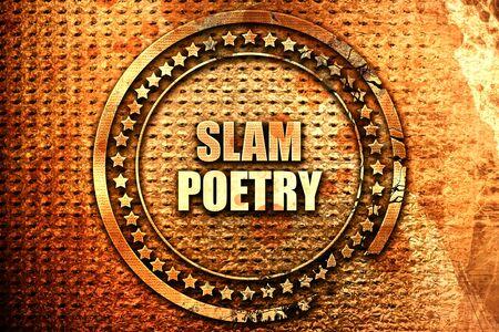 music lyrics: slam poetry, 3D rendering, text on metal