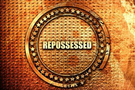 repossessed, 3D rendering, text on metal