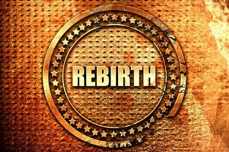 rebirth, 3D rendering, text on metal Stock Photo