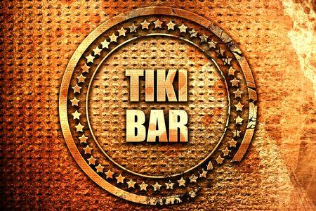 tiki: tiki bar, 3D rendering, text on metal Stock Photo