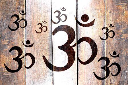 aum: Vintage Om  aum symbol on a grunge wooden panel