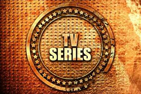 TV-Serie, 3D-Rendering, Text auf Metall Standard-Bild
