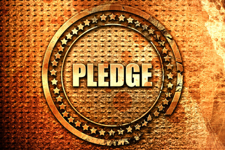 pledge, 3D rendering, text on metal