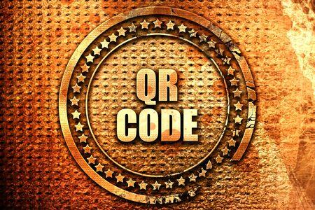 qr code, 3D rendering, text on metal