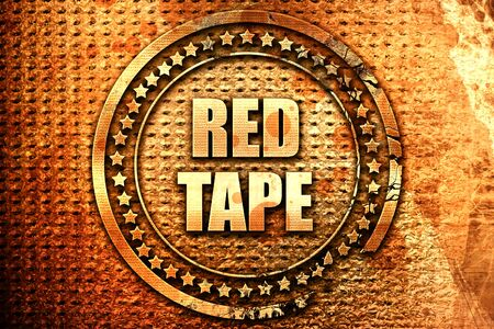 trapped: red tape, 3D rendering, text on metal
