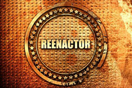 reenacting: reenactor, 3D rendering, text on metal
