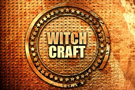 witchcraft, 3D rendering, text on metal Stock Photo