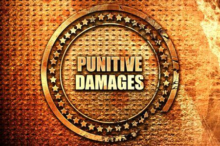 punitive damages, 3D rendering, text on metal