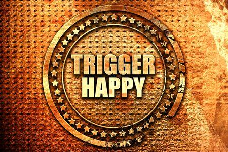 gatillo: trigger happy, 3D rendering, text on metal