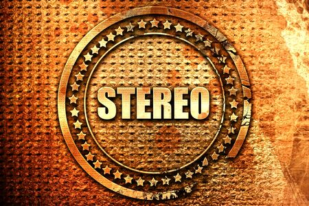 stereo, 3D rendering, text on metal Stock Photo