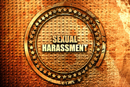 violence in the workplace: sexual harassment, 3D rendering, text on metal