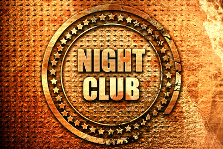 music 3d: night club, 3D rendering, text on metal Stock Photo