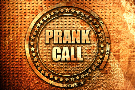 caller: prank call, 3D rendering, text on metal