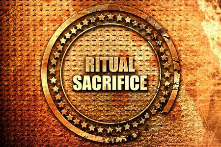 sacrificio: ritual sacrifice, 3D rendering, text on metal Foto de archivo