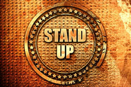 stand up, 3D rendering, text on metal Stock Photo