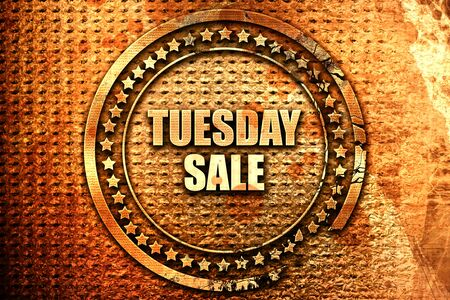 tuesday sale, 3D rendering, text on metal