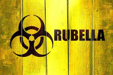 rubella: Vintage Rubella on a grunge wooden panel