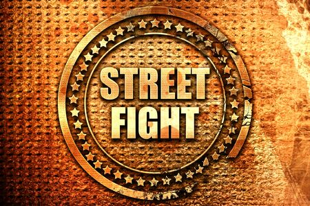 street fight, 3D rendering, text on metal