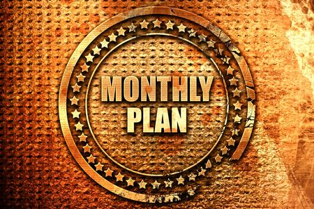 monthly plan, 3D rendering, text on metal