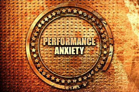 performance anxiety, 3D rendering, text on metal