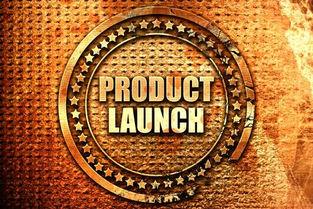 product launch, 3D rendering, text on metal Stock Photo