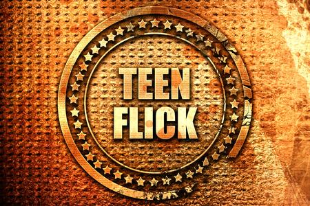 teen flick, 3D rendering, text on metal