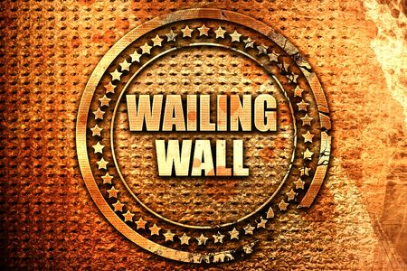 wailing wall, 3D rendering, text on metal Stock Photo