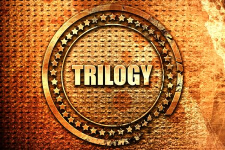 trilogy: trilogy, 3D rendering, text on metal