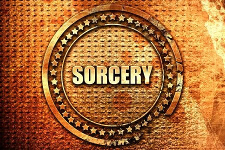 sorcery: sorcery, 3D rendering, text on metal Stock Photo