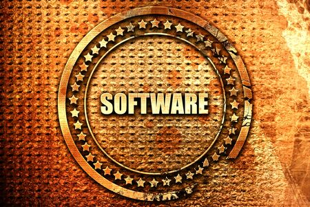 software, 3D rendering, text on metal