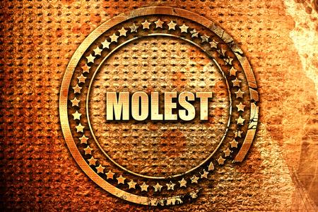 abuser: molest, 3D rendering, text on metal