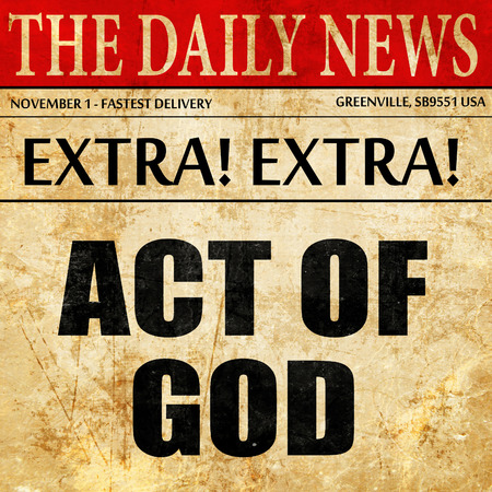 act of god: act of god, article text in newspaper Stock Photo