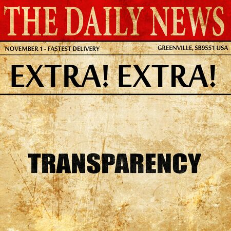 governing: transparency, article text in newspaper