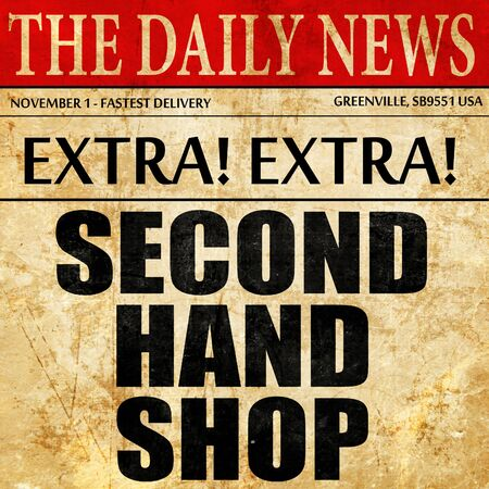 second hand: second hand shop, article text in newspaper Stock Photo