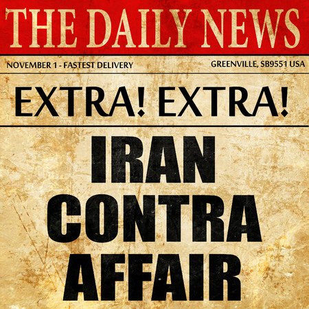contra: iran contra affair, article text in newspaper Stock Photo