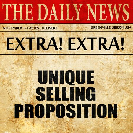 unique selling proposition, article text in newspaper