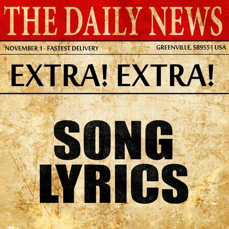music lyrics: song lyrics, article text in newspaper