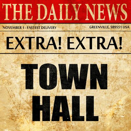 Gemeentehuis, artikel tekst in krant Stockfoto