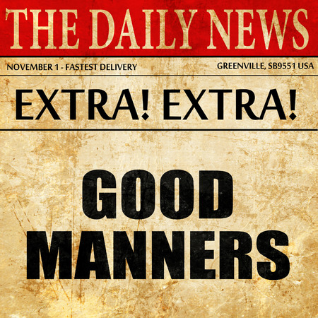 good manners, article text in newspaper Stock Photo