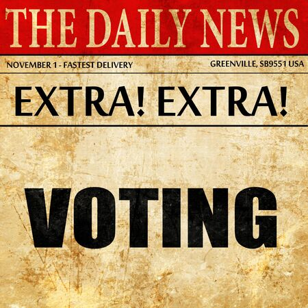 stemmen, artikeltekst in krant Stockfoto