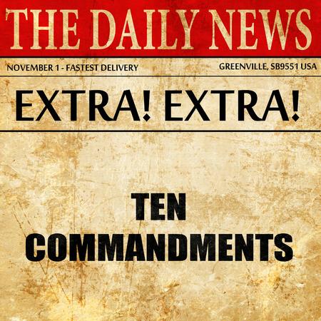 commandment: ten commandments, article text in newspaper