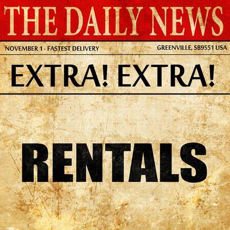 rentals: rentals, article text in newspaper