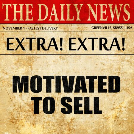 motivated to sell, article text in newspaper Banco de Imagens