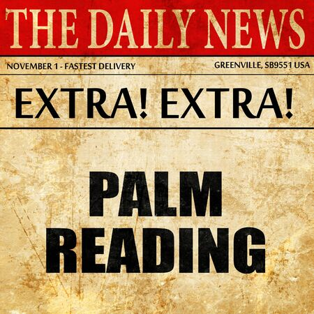 palm reading, article text in newspaper Stock Photo